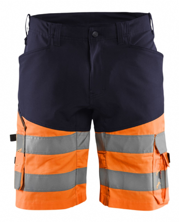 Blaklader 1541 Hi Vis Work Shorts with Stretch (Navy / Hi Vis Orange)